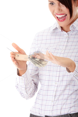 Businesswoman with finger in moustrap stock photo, Businesswoman with finger in moustrap - business trap concept by Piotr_Marcinski
