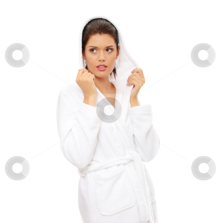 After bath stock photo, Young beautiful caucasian woman after bath isolated on white by Piotr_Marcinski