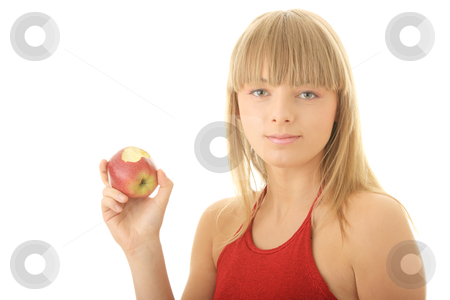 Young blond woman with red apple stock photo, Young blond woman with red apple isolated on white background - healthy concept by Piotr_Marcinski