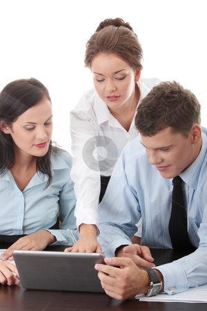 Business taam stock photo, Interracial business team working at laptop in a office, isolated on white by Piotr_Marcinski