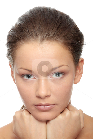 Beauty stock photo, Close-up of beautiful woman face, over white background by Piotr_Marcinski