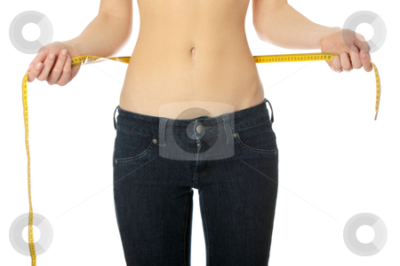 Woman measuring her waist stock photo, Sexy, fit, young woman measuring her waist, isolated on white by Piotr_Marcinski