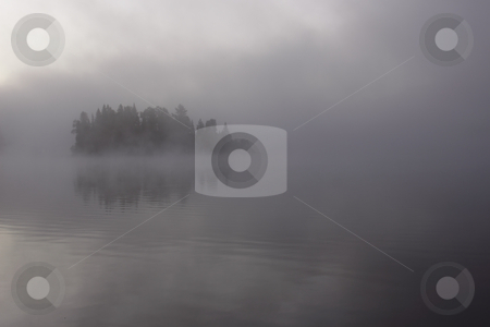 Misty Evergreen Island stock photo, A evergreen island covered in mist, shot in Algonquin Park, Ontario, Canada. by Chris Hill
