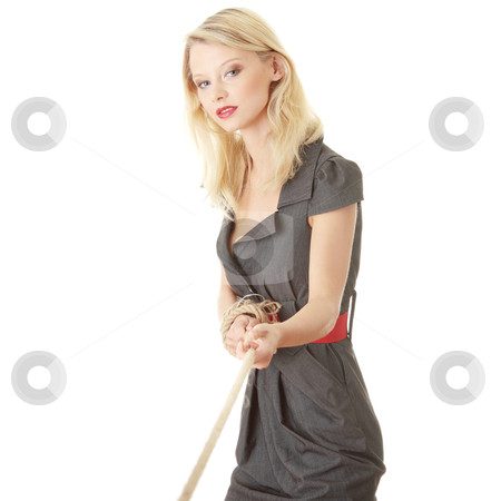 Businesswoman pulling on a piece of rope stock photo, Businesswoman pulling on a piece of rope. Isolated on white  by Piotr_Marcinski