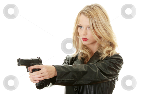 Sexy blond woman with handgun stock photo, Sexy blond woman with handgun isolated on white background  by Piotr_Marcinski