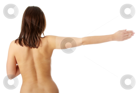 Nude beautiful female body stock photo, Nude beautiful female body from behind, with right arm up, isolated on white background by Piotr_Marcinski