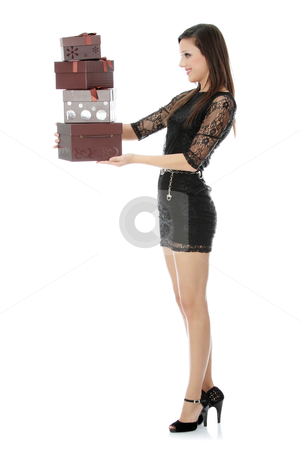 Gifts stock photo, Woman with gifts , isolated on white background by Piotr_Marcinski