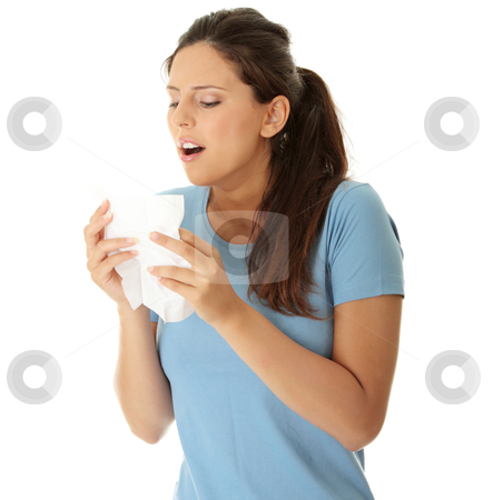Teen woman with allergy or cold stock photo, Teen woman with allergy or cold, isolated on white background by Piotr_Marcinski