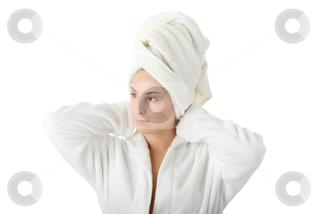 Bath time stock photo, Young caucasian woman in bathtube and towel, isolated on white by Piotr_Marcinski