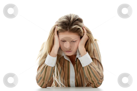 Depression stock photo, Sad business woman sitting behind the desk, isolated on white by Piotr_Marcinski