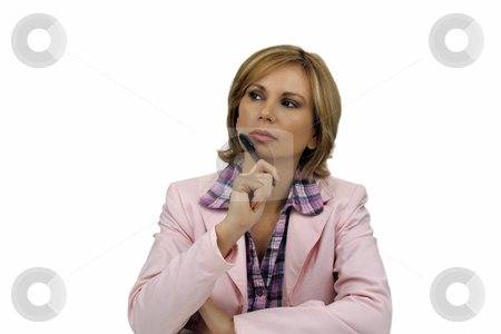 Beautiful Blonde Businesswoman (1) stock photo, A lovely young blonde businesswoman wearing a pink jacket and holding an ink pen. by Carl Stewart