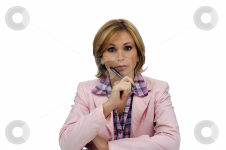 Beautiful Blonde Businesswoman (2) stock photo, A lovely young blonde businesswoman wearing a pink jacket and holding an ink pen. by Carl Stewart