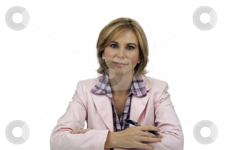 Beautiful Blonde Businesswoman (3) stock photo, A lovely young blonde businesswoman wearing a pink jacket and holding an ink pen. by Carl Stewart