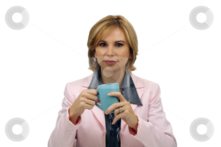 Beautiful Blonde Businesswoman With a Coffee Cup stock photo, A lovely young blonde businesswoman wearing a pink jacket holds a coffee cup. by Carl Stewart