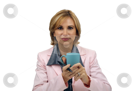 Beautiful Blonde Businesswoman With a Coffee Cup and an Ink Pen stock photo, A lovely young blonde businesswoman wearing a pink jacket holds a coffee cup and an ink pen. by Carl Stewart