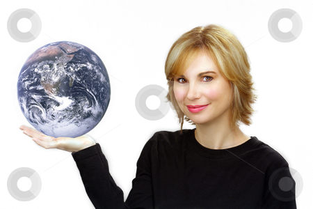 Beautiful Blonde Holding the Earth stock photo, Close-up of a lovely young sandy-blonde woman holding the earth in her right hand. by Carl Stewart