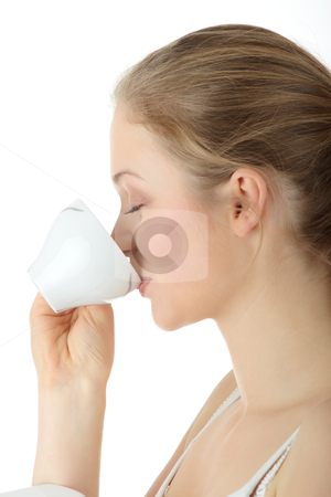 Coffee stock photo, Young attractive blond woman drinking coffee, isolated on white background  by Piotr_Marcinski