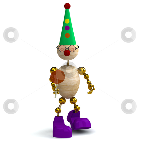 3d wood man as a clown stock photo, 3d wood man as a clown isolated on white by vetdoctor