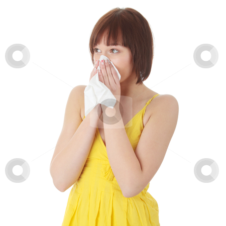 Allergy stock photo, Teen woman with allergy, isolated on white background by Piotr_Marcinski