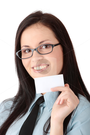 Business card stock photo, Young business woman with business card, isoalted on white by Piotr_Marcinski