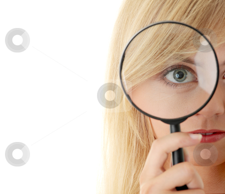 Teen girl with magnifier stock photo, Teen girl with magnifier, isolated on white by Piotr_Marcinski