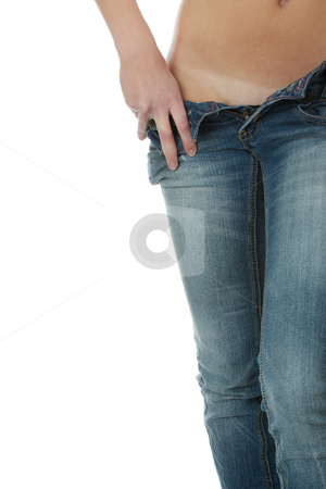 Sexy in jeans stock photo, Sexy nude female body in jeans, isolated on white by Piotr_Marcinski
