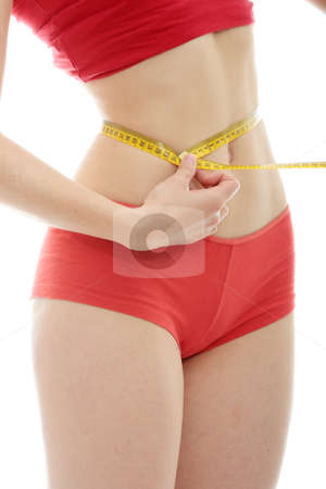 Measuring body stock photo, Beautiful young caucasian woman measuring her body with tape, isolated on white background  by Piotr_Marcinski