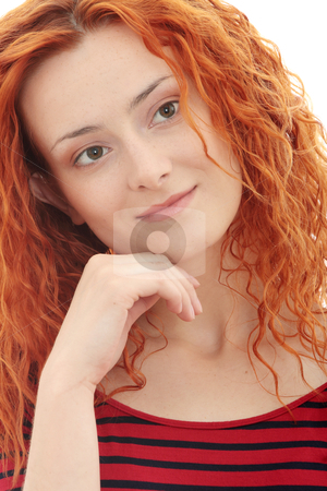 Redhead stock photo, Beauty redhead, isolated on white by Piotr_Marcinski