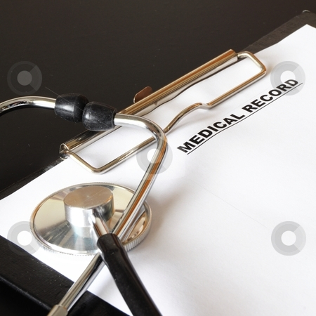 Medical record stock photo, medical record clipboard and stethoscope showing health or medicine concept by Gunnar Pippel