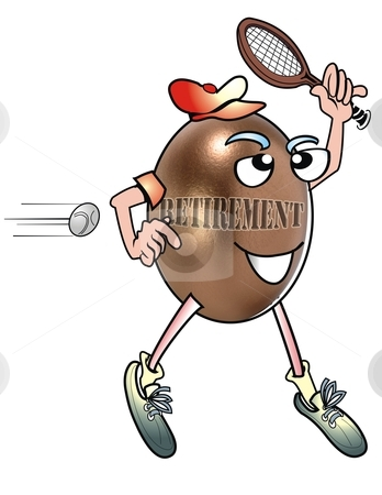 Retirement Tennis Player. stock photo, Egghead tennis player. by WScott