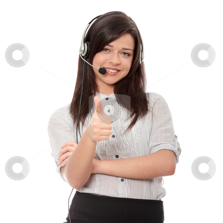 Call center stock photo, Call center woman with headset. Isolated on white background.  by Piotr_Marcinski