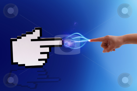Computer cursor and human hand. stock photo, Icon computer cursor and human hand in electrical comunication on gradient blue background. by Cienpies Design