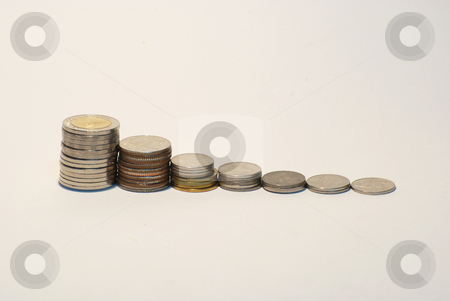 Coins Steps Thai Bahts  stock photo, Coins Steps Thai Baht on the background by hyena1515