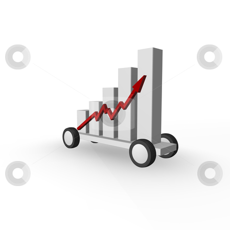 Shipping stats stock photo, business graph on wheels - 3d illustration by J?