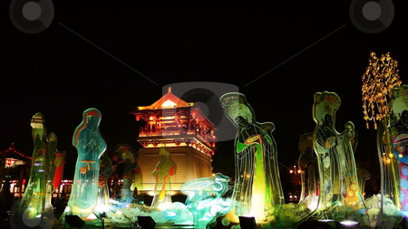 Night scenes of Xian,China stock photo, Beautiful night scenes of the famous ancient city of Xian,China by John Young