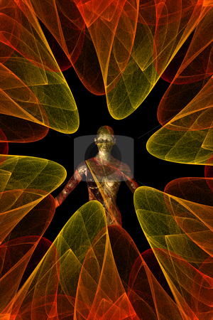 Spiral fractal figure stock photo, Computer generated futuristic abstract illustration. Spiral fractal and female figure. by sirylok