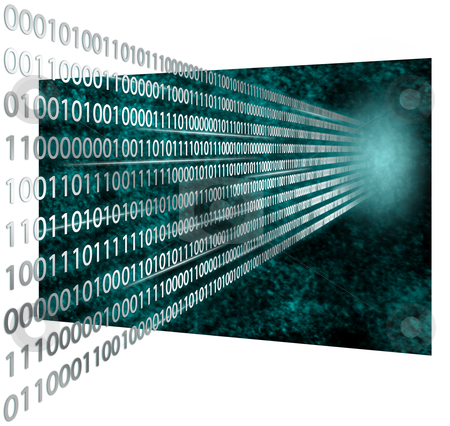 3D binary code stock photo, Digital 3D illustration of computer bit coding technology data by Sauromatum Design