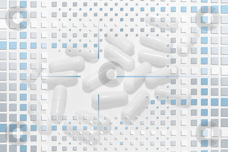 Pills Under mosaic Layer stock photo, White capsules under a modern blue mosaic layer by Sauromatum Design