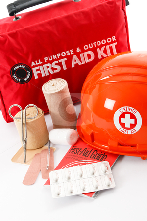 Be Prepared! stock photo, A good First-Aid kit stocked with essential elements is an important part of safety and emergency preparedness by Karen Sarraga