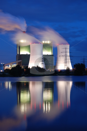 Industry at night stock photo, a smoking industrial power plant at night by Gunnar Pippel