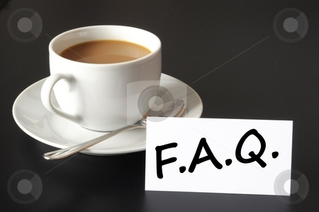 Faq stock photo, faq or frequently asked question concept with cup of coffee on black by Gunnar Pippel
