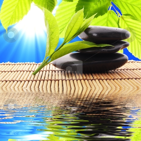 Spa stock photo, spa zen or summer concept with stone and water by Gunnar Pippel