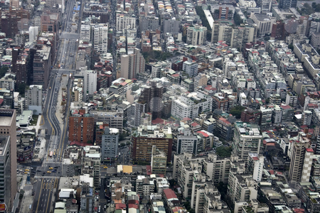 Aerial view Taibei city  stock photo, Aerial view Taibei city from the top of 101 Tower by Ingvar Bjork