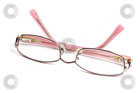Lady's reading glasses stock photo, Lady's reading glasses isolated on white background by Ingvar Bjork
