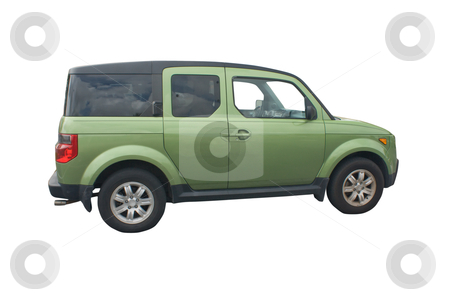 Green SUV stock photo, green compact crossover SUV isolated on white by Lee Barnwell