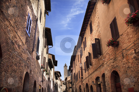 Narrow Street Via San Giovanni San Gimignano Tuscany Italy stock photo, Narrow Street Via San Giovani, Cuganensi Tower San Gimignano Tuscany Italy by William Perry