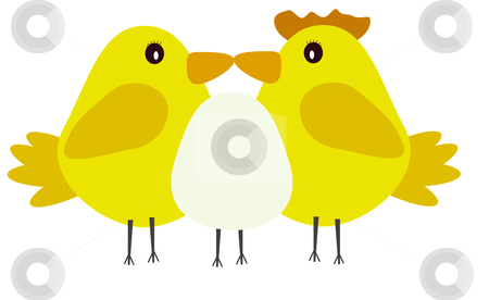 2 chickens and an egg illustration stock photo, a cute chick /easter illustration  by lizapixels