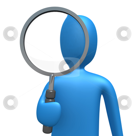 Magnifying Lens stock photo, 3d person holding a magnifying lens . by Konstantinos Kokkinis