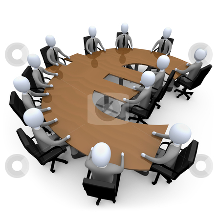 Financial Meeting stock photo, 3d people having a meeting around a euro-shaped table. by Konstantinos Kokkinis