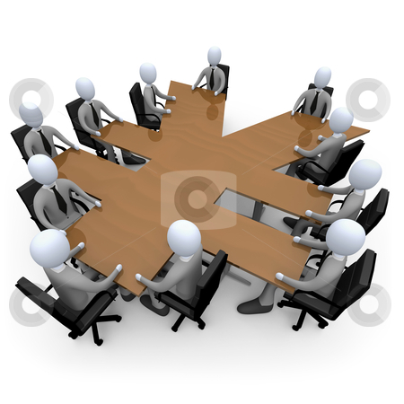 Financial Meeting stock photo, 3d people having a meeting around a yen-shaped table. by Konstantinos Kokkinis